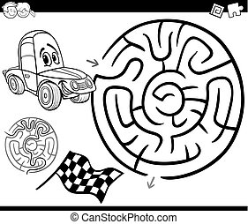 maze with car coloring page - Black and White Cartoon...