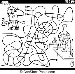 maze with cartoon scientist and lab coloring book page