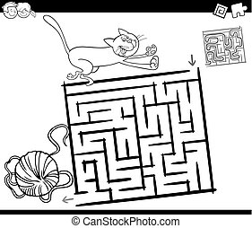 maze with cat and wool coloring page - Black and White...