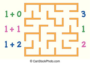 Maze with color numbers for children over white background. Find the way to the correct answer.