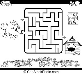 maze with dog and kennel coloring page