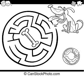 maze with dog coloring page - Black and White Cartoon...