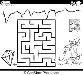 maze with dwarf and gem for coloring - Cartoon Illustration...