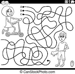 maze with girl and boy coloring book page