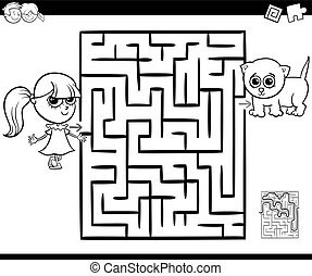 maze with girl and cat for coloring - Cartoon Illustration...
