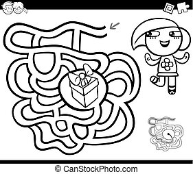maze with girl and gift coloring page