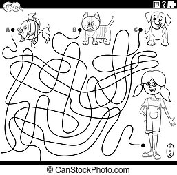 Black and White Cartoon Illustration of Lines Maze Puzzle Game with Comic Girl and Pets Coloring Book Page