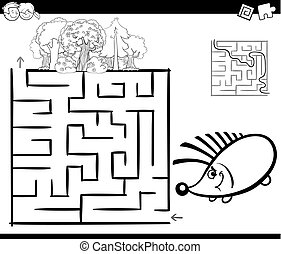 maze with hedgehog coloring page - Black and White Cartoon...