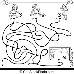 Illustration of soccer coloring book.