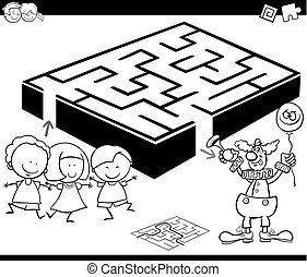 maze with kids and clown for coloring - Cartoon Illustration...