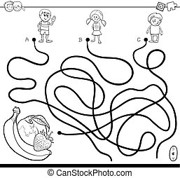 maze with kids and fruits coloring book - Black and White...