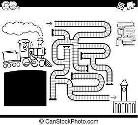 maze with locomotive coloring page - Black and White Cartoon...