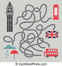 Maze With London Symbols - vector illustration