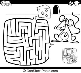 maze with mouse coloring page - Black and White Cartoon...