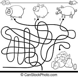 maze with pigs and apples color book - Black and White...