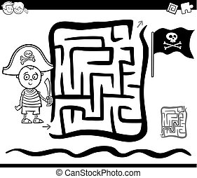 maze with pirate boy coloring page