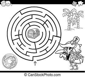 maze with pirate coloring page - Black and White Cartoon...
