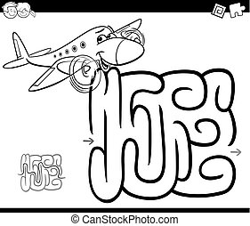 maze with plane coloring page - Black and White Cartoon...