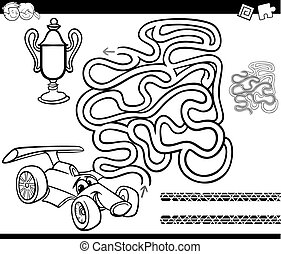 maze with race car coloring page - Black and White Cartoon...