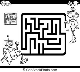 maze with robots coloring page