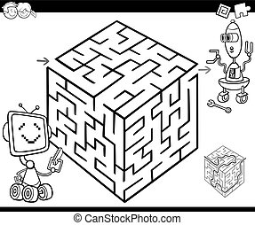 maze with robots for coloring - Cartoon Illustration of...