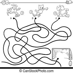 maze with soccer animals coloring book - Black and White...