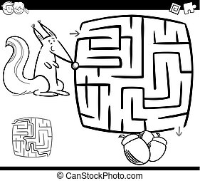 maze with squirrel coloring page - Black and White Cartoon...