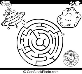 maze with ufo coloring page - Black and White Cartoon...