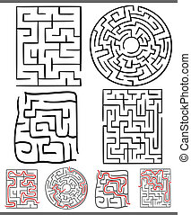 mazes or labyrinths diagrams set