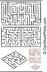 mazes or labyrinths diagrams set - Set of Mazes or ...