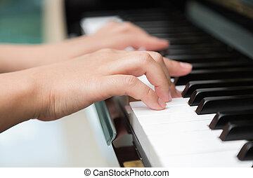 mazlit se piano, uzavřít, manželka, up, ruce