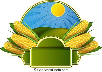 mazorca de maíz, etiqueta