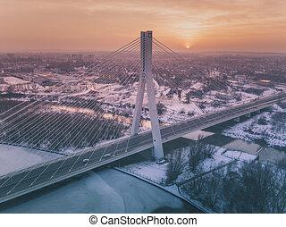 Mazowiecki Bridge and Wislok River in Rzeszow. Rzeszow, Podkarpacie, Poland.