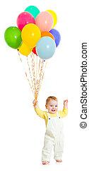 mazzo, capretto, palloni, o, bambino