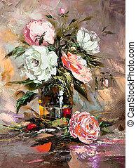 mazzo fiori, in, uno, vaso