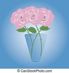 mazzolino, bello, roses., tre