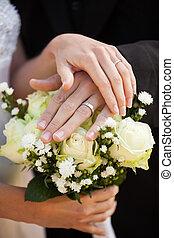 Mazzolino, coppia, anelli, Appena sposato, matrimonio