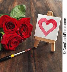 mazzolino, cuore, rose, dipinto