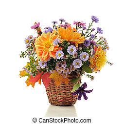 mazzolino, di, autunno, fiori