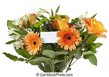 mazzolino, di, fiore, con, bianco, vuoto, scheda
