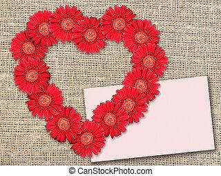 mazzolino, di, fiori rossi, come, heart-form
