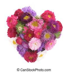 mazzolino, fiori, aster