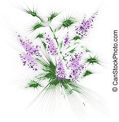 mazzolino, fiori, astratto