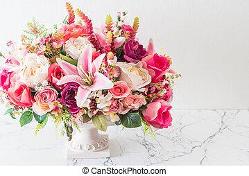 mazzolino, fiori, vaso