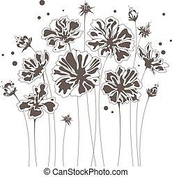 mazzolino floreale, disegno astratto