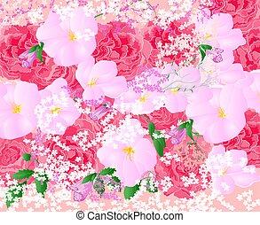 mazzolino floreale, fondo, rose