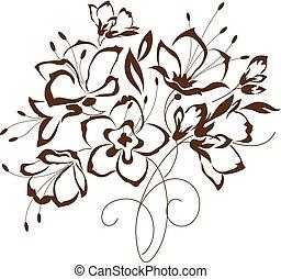 mazzolino floreale, stilizzato, disegno