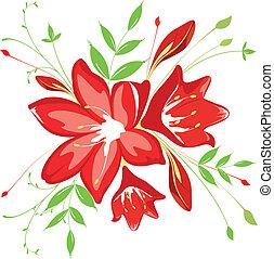mazzolino, fogliame, fiori