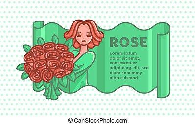 mazzolino, grande, ragazza, roses.