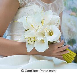 mazzolino, matrimonio, sposa, mani